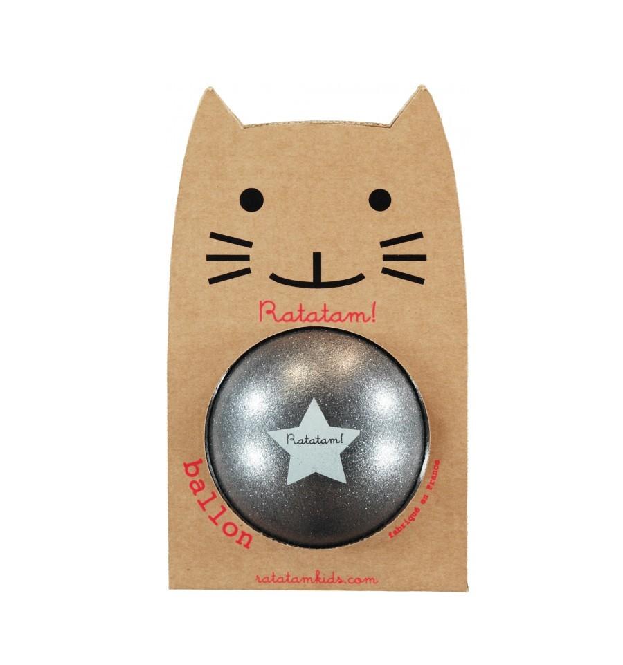 Ball, 15cm, glitzergrau, Ratatam